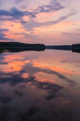 Sunset at a lake in Aukstaitija National Park