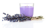 Fototapety Lavender candle with fresh lavender, isolated on white