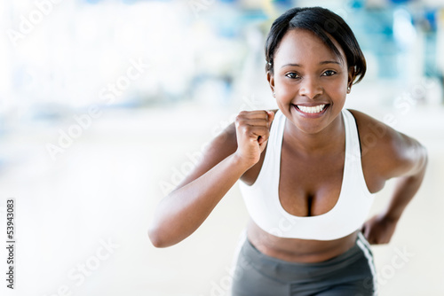 Competitive woman running
