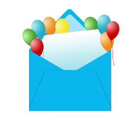 Sobre con tarjeta para envío de felicitación con globos