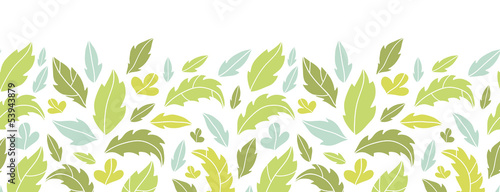 Vector leaves silhouettes horizontal seamless pattern background
