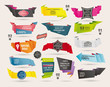 Set of Retro  ribbons and labels ,Origami banners