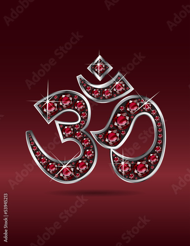 Om Symbol in Silver with Ruby Stones