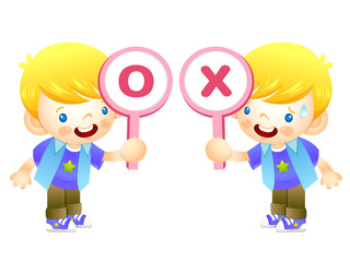 Boys are playing OX Quiz game. Education and life Character Desi