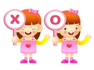 Girls are playing OX Quiz game. Education and life Character Des