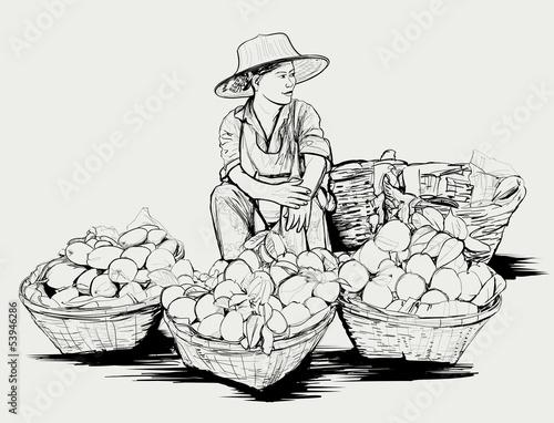 Fruit street vendor in Bangkok Thailand - 53946286