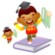 Boy standing on a large book. Education and life Character Desig