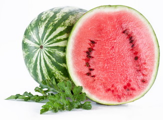 Watermelon with a slice and leaves