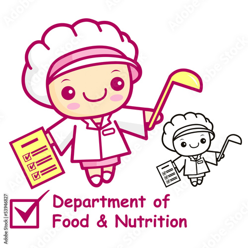 The Department of Food and Nutrition mascot. Education and life