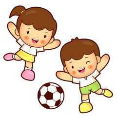 Boy and girl is playing Football. Education and life Character D