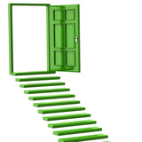 Green stairs and open doors