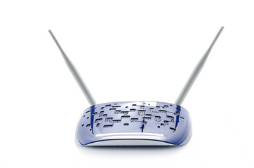 Blue Wi-Fi Router On White Background