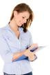 businessfrau schreibt auf dem klemmbrett