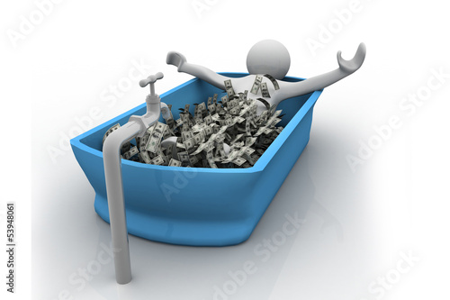 People bath in cash