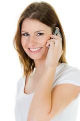 studentin telefoniert mit dem smartphone