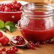 Strawberry jam and berry fruits