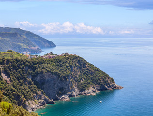 Panorama of the coast of the Cinque Terre in Italy.