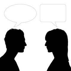 woman and man face to face dialogue