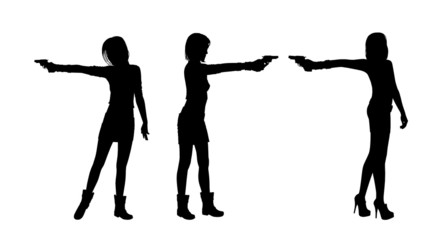 woman shooting with a gun silhouettes set