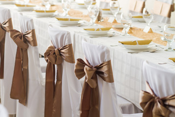 wedding chairs with silk ribbon