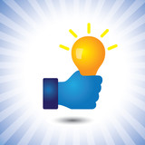 creative, smart & intelligent person with idea(bulb)- vector gra