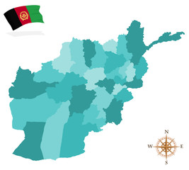 Map of Afghanistan, provinces and regions
