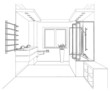 Graphic sketch a bathroom