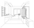 Graphic sketch a bathroom