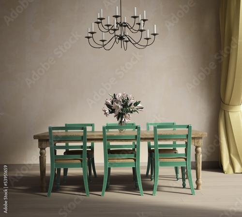 Provence style interior design dining room with flowers