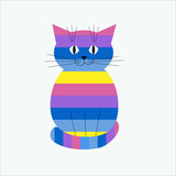 Striped decorative stylized cat