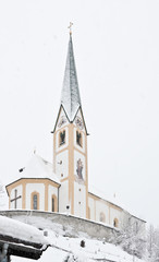 Kirchberg in Tirol, church, snow winter