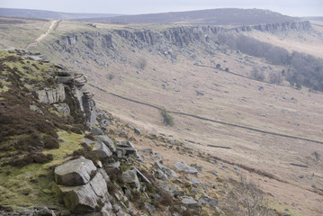 Looking along Stanage Edge, Peak District, UK