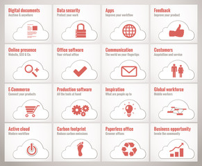 Cloud business icons