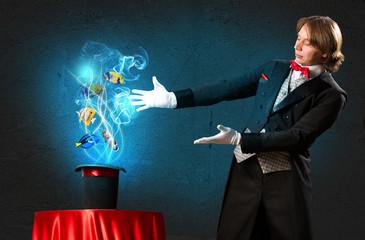 magician casts a spell