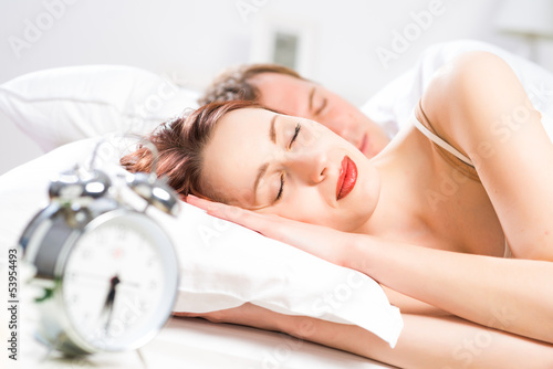 beautiful woman sleeping on the bed