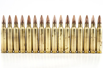 Cartridge 5.56 mm caliber, Machine gun bullet isolated.