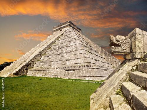 Aluminium Mexico Mayan Chichen Itza pyramid, Mexico