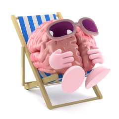 Brain relaxes in a deck chair