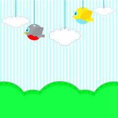 Flying birds in the sky