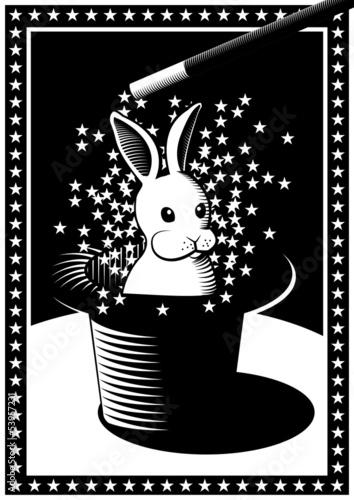 Zauberer mit Hut und Hase