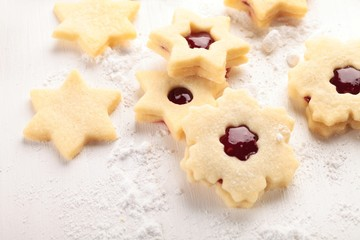 Close-up of shortbread cookies on white wooden background