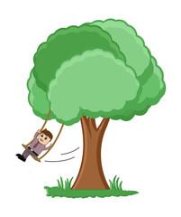 Swinging on a Tree Branch Vector Illustration