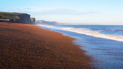 jurrasic coast freshwater beach at sunrise
