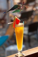 Fresh tropical cocktail on beautiful sunny beach