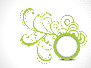 abstract green floral background with cirlcle