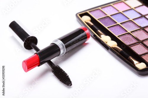 Multicolored eye shadows palette, red Lipstick and black mascara