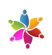 Teamwork colorful flower shape logo vector