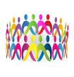 Teamwork meeting people logo vector design