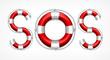 SOS symbol on white