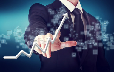 Businessman Touching a Rising Arrow